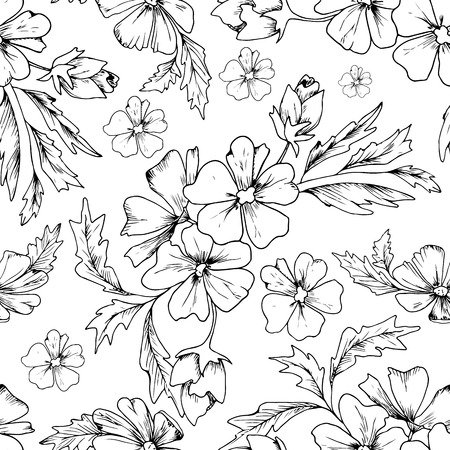 fabric pattern: Vector seamless black doodles pattern, floral ethnic ornament, fashion pattern for fabric