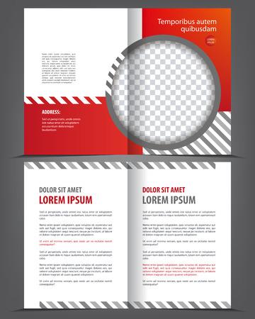 magazine design: Vector empty bi-fold brochure print template red design, booklet layout Illustration