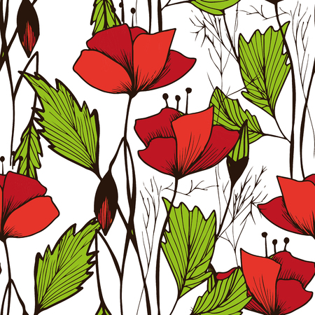 Vector seamless bright ethnic endless poppies pattern, floral ornament, fashion fabric pattern