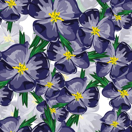 violets: Vector seamless bright ethnic endless violets pattern, floral ornament, fashion fabric pattern