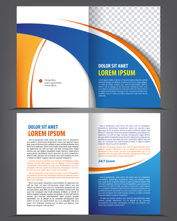 newsletter: Vector empty bi-fold brochure print template design, newsletter booklet layout