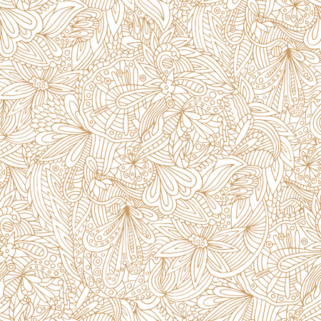 beige background: Vector seamless beige doodles pattern, floral ethnic ornament, fashion pattern for fabric