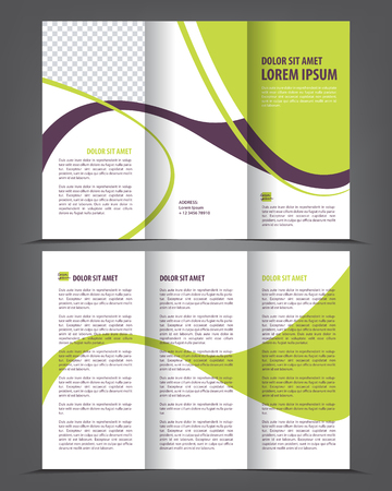 brochure background: Vector empty tri-fold brochure print template design, trifold bright booklet or flyer