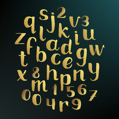 Handwritten Gold Alphabet Hand Drawn Sketch Vector Lowercase