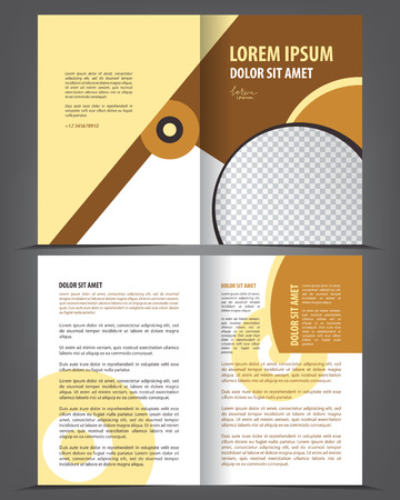 two page spread: Vector empty bi-fold brochure print template design, newsletter booklet layout