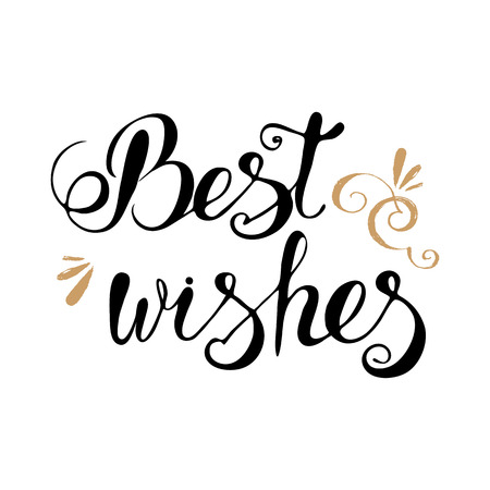Best wishes lettering typography, clip art for cards
