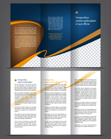 Vector empty tri-fold brochure print template design, trifold bright booklet