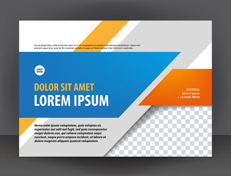 Modern light gray, orange and blue certificate or diploma design print template, brochure Иллюстрация