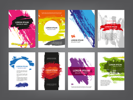Abstract magazine, brochure, cover layout design template, sketch ink splashes, print grunge scribble collection 矢量图像