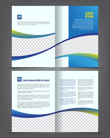 empty bi-fold brochure print template design, newsletter booklet layout