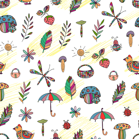 hand baskets: seamless childish colorful pattern background with toys, leaves, baskets, birds, mashrooms. Hand drawn doodle pencil drawing