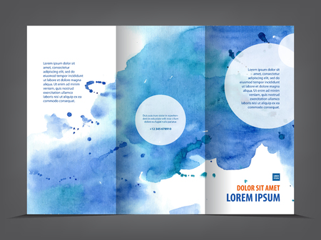 empty tri-fold brochure template print blank watercolor design, blue watercolour Stock Illustratie