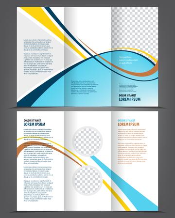 threefold: empty tri-fold brochure template print blank purple design Illustration