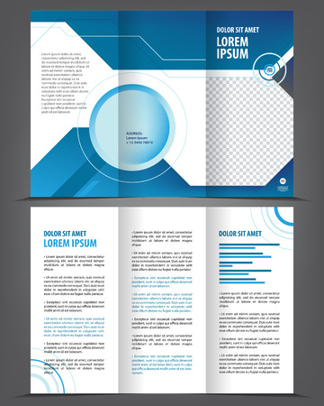 brochure template: Vector empty tri-fold brochure print template design, trifold bright blue booklet or flyer