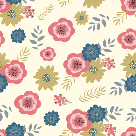 retro floral: Retro seamless floral background, vintage flowers and branches