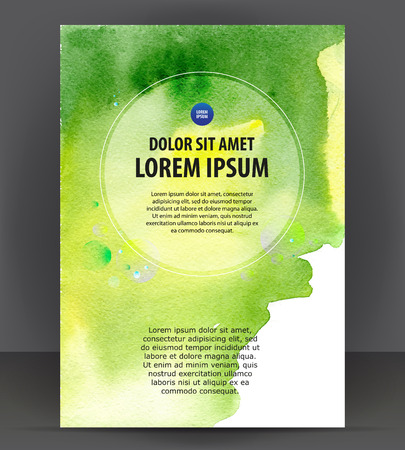 contact sheet: Vector empty brochure template print blank watercolor design, green watercolour