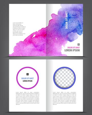 broadsheet: Vector empty bifold brochure template print blank watercolor design, purple watercolour Illustration
