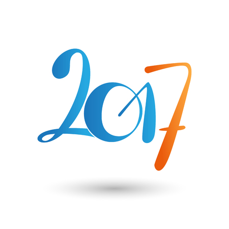 Vector 2017 year lettering, Typography blue & orange numbers calendar