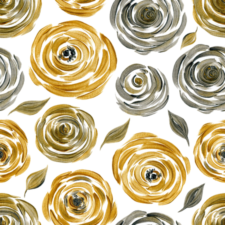 pattern background: Gold and silver rose seamless background, golden silvery flowers acrylic pattern Stock Photo