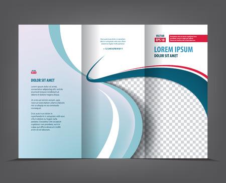 portadas libros: diseño de la plantilla de vectores tri pliegue folleto, tríptico concepto de negocio prospecto, 3 veces azul del vector Disposición del aviador Vectores