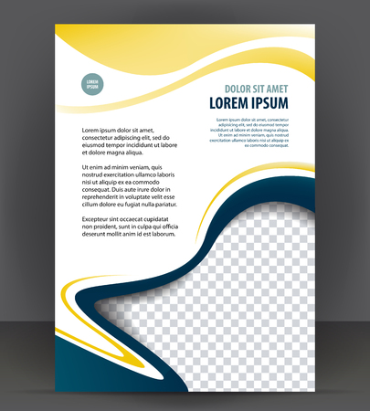 throwaway: Blue flyer template, brochure magazine cover layout print design Illustration