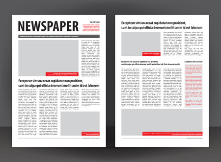 Vector empty newspaper print template design with red and black elements Çizim