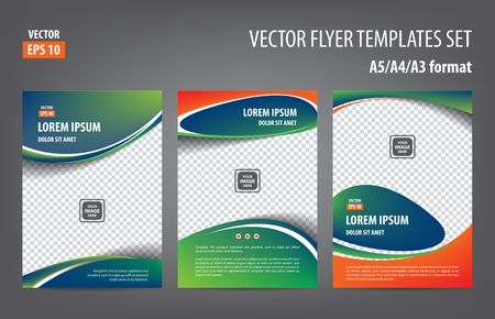 throwaway: Blue green orange flyer template set, brochure magazine cover layout print design collection Illustration