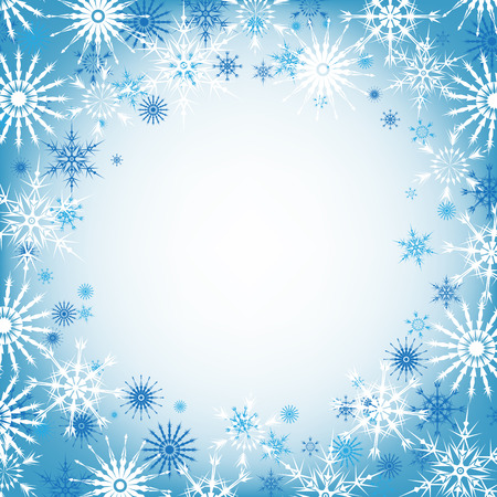 square frame: Vector snowflake blue winter background, snow christmas backdrop