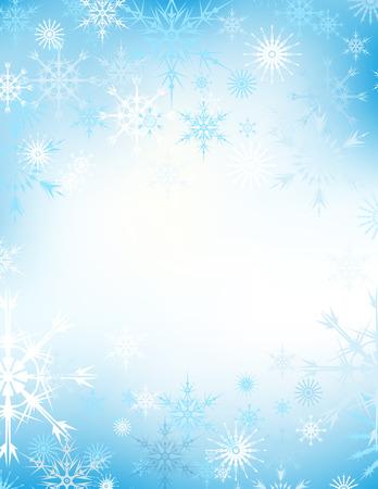snowflake snow: Vector snowflake blue winter background, snow christmas backdrop