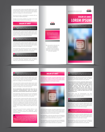 template: Vector tri fold brochure template design, concept business leaflet, 3 folded pink vector flyer layout