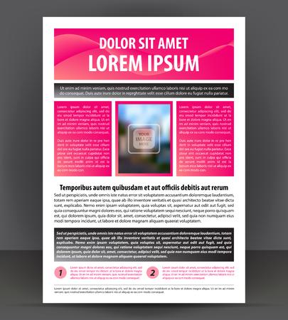 broadsheet: Magazine, flyer, brochure, beauty cover layout violet design template, vector Illustration