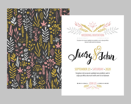 original: Wedding invitation card template design with branches and leaves hand drawn elements set