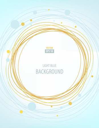 marriage invitation: Light blue and gold abstract background with circles for wedding invitation, brochure, flyer template
