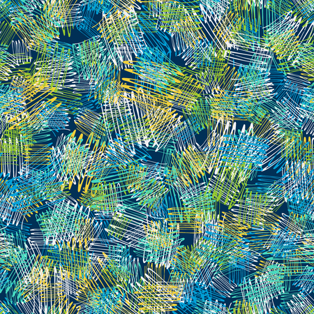 Seamless hand drawn pattern painted by ink and pen. Ideal for textile design, abstract fabric background Ilustração