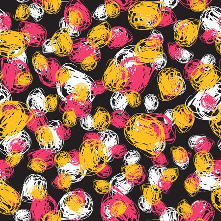 Seamless hand drawn pattern painted by ink and pen. Ideal for textile design, abstract fabric background Illustration