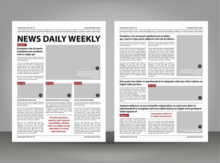 Newspaper template layout print design with dark red and black elements vector pages
