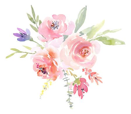Aquarellanordnung von Blumen und Rosenzweigen