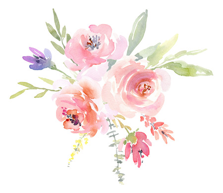 Watercolor arrangement of flowers and roses branches 写真素材 - 113538781