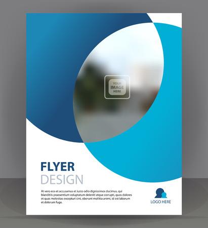 Flyer brochure, cover layout design print, light blue pamphlet vector illustration