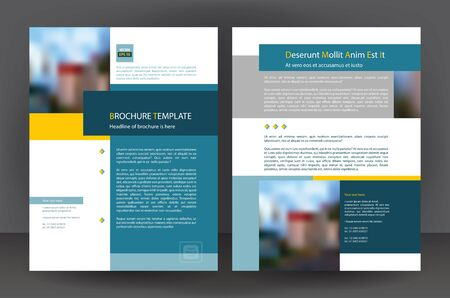 Blue business brochure flyer design print template, vector leaflet layout, annual report cover
