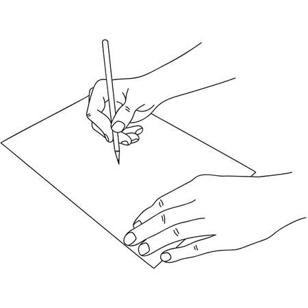 Human hands holding a pen and writing on paper. 向量圖像
