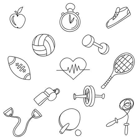 Sports fitness gym equipment.Hand draw doodle set icons. Stock Vector - 66528275