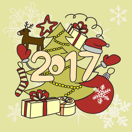 Image winter accessories. New year 2017 and Christmas. Illustration