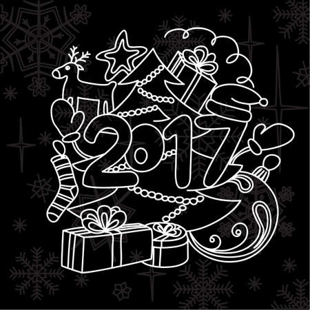 poppers: Image winter accessories. New year 2017 and Christmas. Illustration