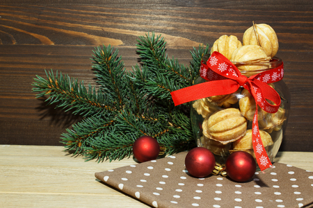 Christmas cookies in a glass jar. New Year and Christmas card.