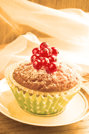 Mini dessert with berries. Close-up. Image in sepia colors. Stock Photo