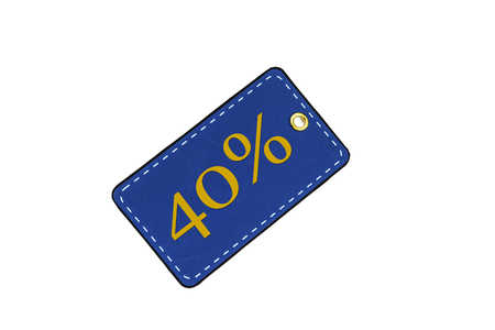 Discount tags or labels for sale in denim color with space for text. Discount card isolated on white background. Close-up.