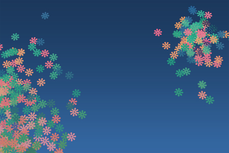 Colorful confetti scattered on a blue background. Place for text. Copy space.
