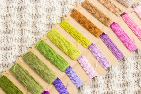 A set of threads for embroidery in floral colors. The concept of earning needlework. Copy space.