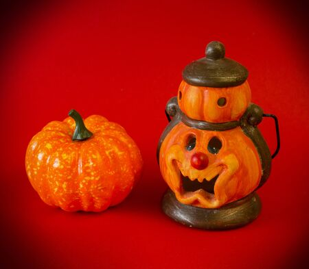 Bright Halloween background. Halloween attributes on a red background. Halloween holiday concept. Place for text.